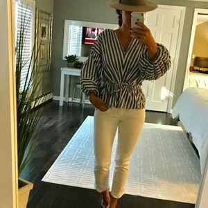 GAP Blue White stripe v neck shirt tie waist XS